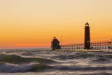 Grand Haven South Pier Lighthouse at Sunset on Lake Michigan, Ottawa County, Grand Haven, Mi Reproduction photographique Premium par Richard and Susan Day