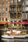 Cafes and Sailboats on the Harbor, Honfleur, Normandy, France Reproduction photographique par Russ Bishop