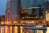 Chicago River and Skyline at Dusk in Summer with Boats Photographic Print by Alan Klehr