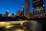 Bp Bridge at Millennium Park and Chicago Skyline at Dusk Photographic Print by Alan Klehr