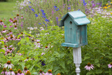 Blue Birdhouse in Flower Garden with Purple Coneflowers and Salvias, Marion County, Illinois Reproduction photographique par Richard and Susan Day