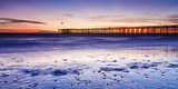 Sunset over Channel Islands and Ventura Pier from San Buenaventura State Beach, Ventura, California Reproduction photographique par Russ Bishop