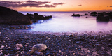 Hawaiian Green Sea Turtles on a Lava Beach at Sunset, Kohala Coast, the Big Island, Hawaii Reproduction photographique par Russ Bishop