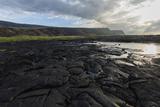 Cooled Lava Flow Creates Complex Patterns Along Shoreline, Big Island, Hawaii Reproduction photographique par James White