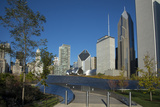 Bp Bridge in Millennium Park in Chicago, Early Morning in Autumn, with Skyline Photographic Print by Alan Klehr