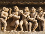 Musicians, Erotic Sculptures of Khajuraho, Madhya Pradesh, India Photographic Print by Jagdeep Rajput
