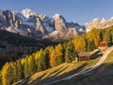 Geisler Mountain Range, Odle in the Dolomites, Groeden Valley, Val Gardena, South Tyrol, Alto Adige Fotografisk trykk av Martin Zwick