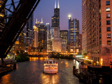 Chicago River and Skyline at Dusk with Boat Photographic Print by Alan Klehr