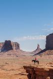 Navajo Man on Horseback, Monument Valley Navajo Tribal Park, Monument Valley, Utah Photographic Print by Michael DeFreitas