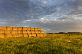 Hay Bales and Chalk Buttes Receive Beautiful Morning Light Near Ekalaka, Montana, Usa Photographic Print by Chuck Haney