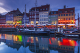 Denmark, Zealand, Copenhagen, Nyhavn Harbor, Evening Photographic Print by Walter Bibikow