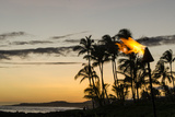 Tiki Torches at Sunset on Poipu Beach Kauai, Hawaii Reproduction photographique par Michael DeFreitas