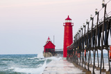 Grand Haven South Pier Lighthouse at Sunrise on Lake Michigan, Ottawa County, Grand Haven, Michigan Reproduction photographique par Richard and Susan Day