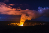 Lava Steam Vent Glowing at Night in Halemaumau Crater, Hawaii Volcanoes National Park, Hawaii, Usa Premium fotografisk trykk av Russ Bishop
