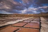 Spain, Canary Islands, Lanzarote, El Golfo, Salinas De Janubio, Salt Evaporation Pans, Sunset Fotografisk trykk av Walter Bibikow