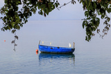 Macedonia, Ohrid and Lake Ohrid. Blue Fishing Boat Photographic Print by Emily Wilson