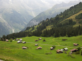 Switzerland, Bern Canton, Murren, Alpine Farming and Pasture Area Reproduction photographique par Jamie And Judy Wild