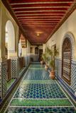 Africa, Morocco, Fes. Ornate and Colorful Hallway Fotografie-Druck von Brenda Tharp