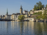 Switzerland, Zurich, Limmat River and Historic Lindenhof Area Reproduction photographique par Jamie And Judy Wild