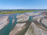 Waitaki River Near Coast, North Otago, South Canterbury Border, South Island, New Zealand Reproduction photographique par David Wall