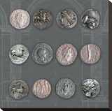 Roman Coins II Stretched Canvas Print by  The Vintage Collection