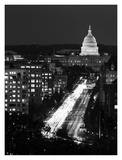Dusk view of Pennsylvania Avenue, America's Main Street in Washington, D.C. - Black and White Varia Prints by Carol Highsmith