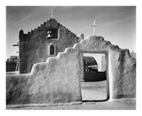 Full side view of entrance with gate to the right, Church, Taos Pueblo National Historic Landmark,  Print by Ansel Adams