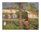 Madame Sisley on the banks of the Loing at Moret Reproduction giclée Premium par John Peter Russell
