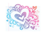 Valentine's Day Love & Hearts Sketchy Notebook Doodles Design Elements on Lined Sketchbook Paper Ba Posters by  blue67