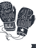 Motivational Quote Hand-Written within Silhouette of Boxing Gloves. Creative Hand Lettering. Persis Poster di  Lisitsaimage