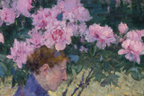 Peonies and head of a Woman Reproduction procédé giclée par John Peter Russell
