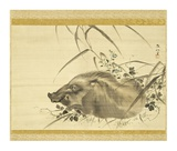 Wild Boar amidst Autumn Flowers and Grasses Posters by Mori Sosen