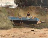 Boat on beach, Queenscliff ジクレープリント : トム・ロバーツ
