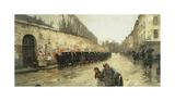 Cab Station, Rue Bonaparte, 1887 Reproduction giclée Premium par Frederick Childe Hassam