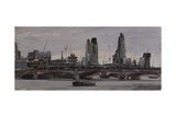 The City from Waterloo Bridge, Stormy Skies, February Giclee Print by Tom Hughes