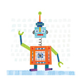 Robot Party III on Squares Premium Giclee Print by Melissa Averinos