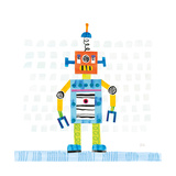 Robot Party II on Squares Premium Giclee Print by Melissa Averinos