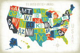 Letterpress USA Map Plakat av Michael Mullan