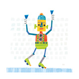 Robot Party I on Squares Premium Giclee Print by Melissa Averinos