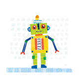 Robot Party IV on Squares Premium Giclee Print by Melissa Averinos