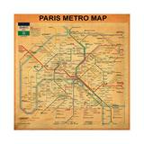 Paris Metro Map - Orange Giclee Print by Bill Cannon