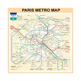 Paris Metro Map - Peach Giclee Print by Bill Cannon