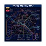 Paris Metro Map- Blue Giclée-tryk af Bill Cannon