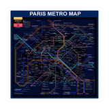 Paris Metro Map- Blue Giclee Print by Bill Cannon