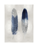 Blue Feather Pair on Silver Giclée-tryk af Julia Bosco