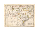 Texas historical map Giclee Print by Dan Sproul