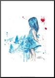 Blue Girl Affiche montée sur bois par Lora Zombie