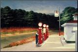 Tankstelle, 1940 Druck aufgezogen auf Holzplatte von Edward Hopper