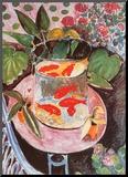 Goldfische Druck aufgezogen auf Holzplatte von Henri Matisse