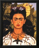 Portrait with Necklace Plakater af Frida Kahlo